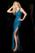 Scala 48549 Sequined V-Neck Sheath Dress
