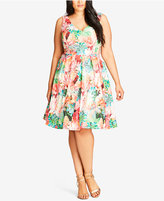 City Chic Trendy Plus Size Floral-Print Fit & Flare Dress