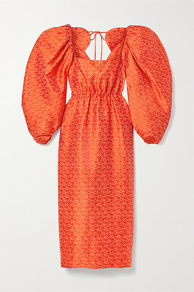 Rosie Assoulin Madame Butterfly Brocade Midi Dress - Bright orange