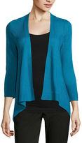 WORTHINGTON Worthington 3/4-Sleeve Textured Flyaway Cardigan