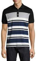 Salvatore Ferragamo Cotton-Silk Piqué Houndstooth & Striped Polo Shirt with Gancini, Black