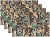 """WOZO Camouflage Camo Tree Leaf Placemat Table Mat 12"""" x 18"""" Polyester Table Place Mat for Kitchen Dining Room Set of 6 for Kids"""