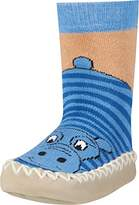 Playshoes Boy's Slipper Moccasin House Shoes Hippo Ankle Socks