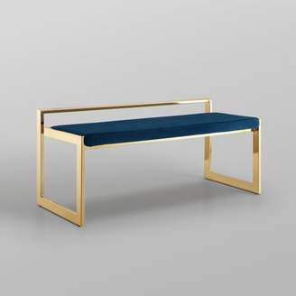 Nicole Miller Simeon Upholstered Bench Upholstery: Navy, Color: Gold