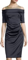Kay Unger New York Shirred-Waist Off-the-Shoulder Sheath Dress