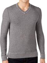 HUGO BOSS Gray Mens Size Large L V-Neck Gingham Print Sweater