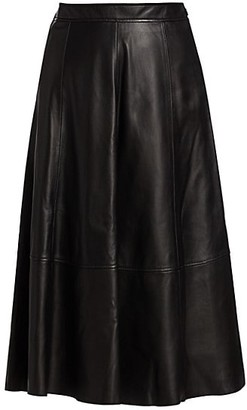 Co Essentials A-Line Leather Midi Skirt