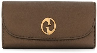 Gucci Pre Owned 1973 Logo Plaque Continental Wallet