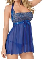 Happy Co. Happy&co Women's Sexy Lingerie Halter Lace Sleepwear See-through Dress Size:3XL