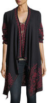 Johnny Was Saskla Embroidered French Terry Cardigan, Plus Size