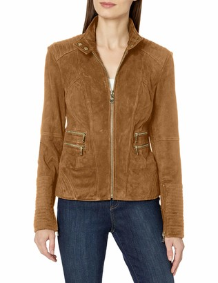 Vince Camuto Women's Front Suede Jaacket with Double Zipped Pockets