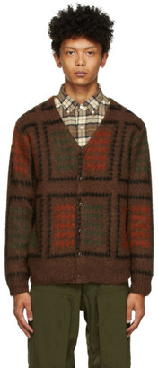 Beams Brown Double Jacquard Cardigan