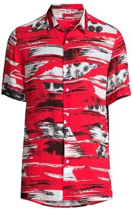 HUGO Ebor Printed Short-Sleeve Button-Front Shirt