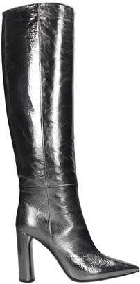 Casadei Visione High Heels Boots In Silver Leather