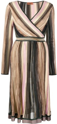 Missoni Stripe Wrap Midi Silk Dress