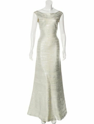 Herve Leger Off-the-Shoulder Maxi Gown Silver