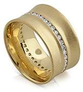 PPLuxury Cuff Style 18K Gold Diamond Concave Band 12mm Wide