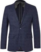 Hackett Blue Mayfair Slim-fit Checked Wool And Cotton-blend Blazer - Navy