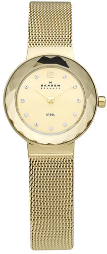 Skagen 'Leonora' Faceted Bezel & Mesh Strap Watch, 25mm