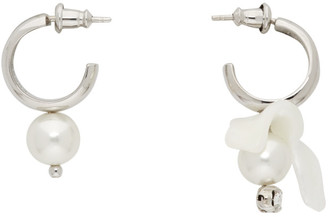Simone Rocha Silver Mix-Match Pearl Hoop Earrings