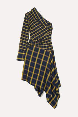 Monse Asymmetric One-shoulder Ruffled Checked Brushed-cotton Dress - Yellow