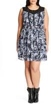 City Chic First Love Lace Trim Chiffon Tunic (Plus Size)