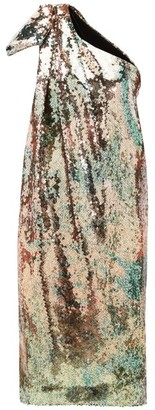Halpern One-shoulder Sequinned Midi Dress - Multi