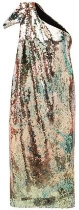 Halpern One-shoulder Sequinned Midi Dress - Womens - Multi
