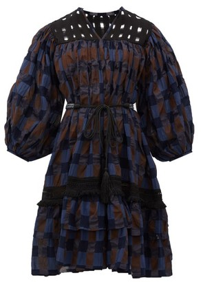 Binetti Love Cruel Summer Checked-cotton Dress - Womens - Blue Multi