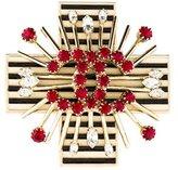 Chanel Crystal & Enamel Cross Brooch