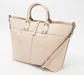 Patricia Nash Emilion Wavy Leather Woven Embossed Tote