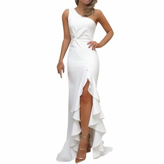 Bumplebee Slim Womens One Shoulder Ruched Ruffle Slit Maxi Dresses Formal Evening Dress White