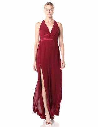 Halston Women's Sleeveless V Neck Gown with Asymmetric Drape