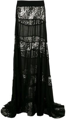 AMIR SLAMA Lace Panels Maxi Skirt