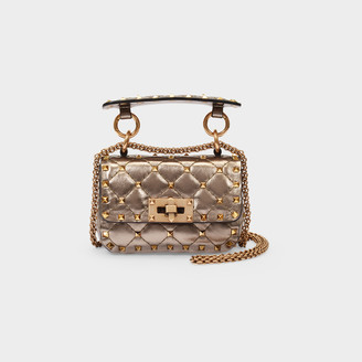 Valentino Shoulder Bag Spike Medium In Brown Metallic Leather