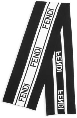 Fendi Logo Wool & Cotton Scarf