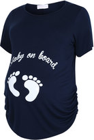 "Yours Clothing BUMP IT UP MATERNITY Navy Top With White Glitter ""Baby On Board"" Placement Print"