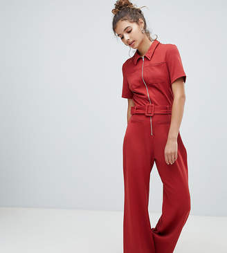 Bershka pocket front boiler suit-Red