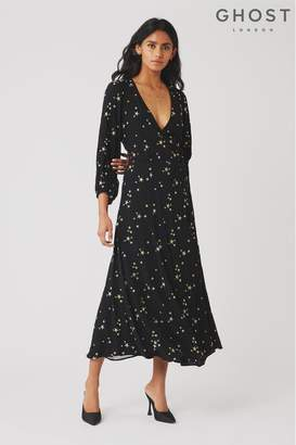Ghost Womens London Black Emilie Embroidered Star Dress - Black