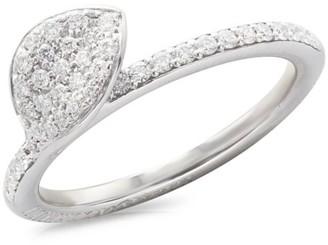 Pasquale Bruni Petit Garden 18K White Gold & Diamond Pave Leaf Ring