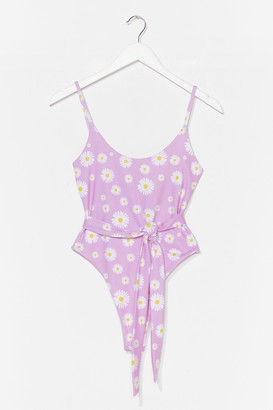 Nasty Gal Womens Field the Power High-Leg Floral Swimsuit - Lilac