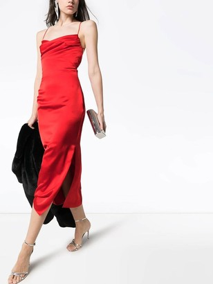 Red Satin Miidi Dress