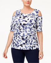 Nine West Plus Size Printed Cold-Shoulder Top