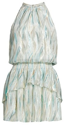 Ramy Brook Silk & Lurex Halterneck Blouson Dress