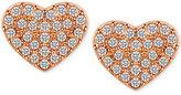 T Tahari Rose Gold-Tone Pavé Heart Stud Earrings