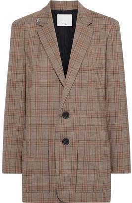 Tibi James Oversized Embellished Checked Woven Blazer