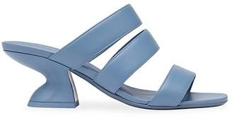 Salvatore Ferragamo Steffie Leather Curve Heeled Sandals