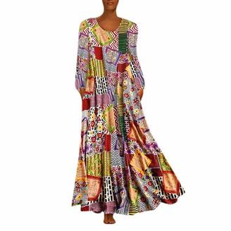 KPILP Women Dress Casual Floral Print Vintage Retro Dress Long Sleeve Loose Party Long Dress Autumn Fashion Beach Party Elegant Maxi Dress Plus Size S-5XL(Multicolor L)