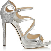 Jimmy Choo FANCIE 120 Silver Glitter Fabric and Mirror Leather Platform Sandals