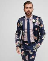 Asos WEDDING Super Skinny Suit Jacket With Navy Floral Print